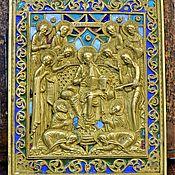 Винтаж handmade. Livemaster - original item Icon old copper cast Week 19th century 7 colors of enamel. Handmade.