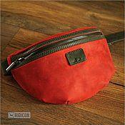 Сумки и аксессуары handmade. Livemaster - original item Red bag with olive belt. Handmade.