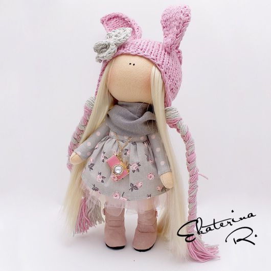 """Куклы тыквоголовки ручной работы. Ярмарка Мастеров - ручная работа. Купить Интерьерная текстильная кукла """"Розовый зайчик винтаж"""". Handmade."""