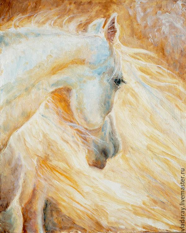 "Origonal painting ""White Horse"" oil, anvas, inch 15,75x19,69, Pictures, Kishinev,  Фото №1"