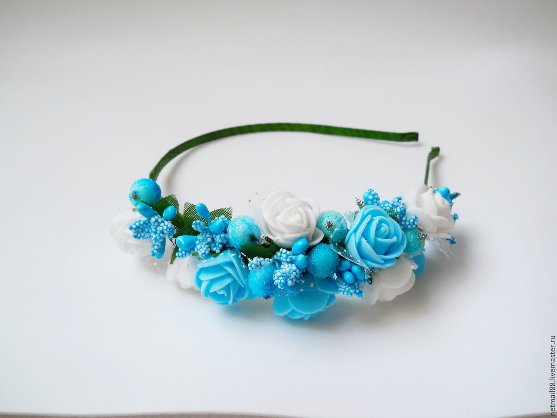 Ободок для волос Бело- голубой, с розами, для девочки