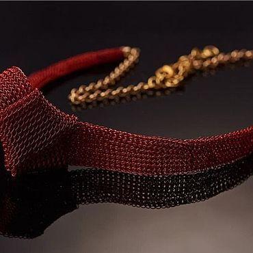 Украшения ручной работы. Ярмарка Мастеров - ручная работа Колье:  красное колье вязаное из проволоки крючком. Handmade.