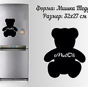 """Дизайн и реклама ручной работы. Ярмарка Мастеров - ручная работа Магнитно-грифельная доска на холодильник """"Мишка Тедди"""". Handmade."""
