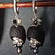 Серьги ручной работы. Ярмарка Мастеров - ручная работа. Купить Длинные серьги с натуральными камнями (Чёрные). Handmade.