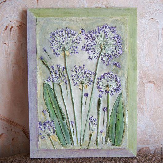 Картины цветов ручной работы. Ярмарка Мастеров - ручная работа. Купить Панно из гипса фиолетовые цветы. Handmade. Фиолетовый, цветы