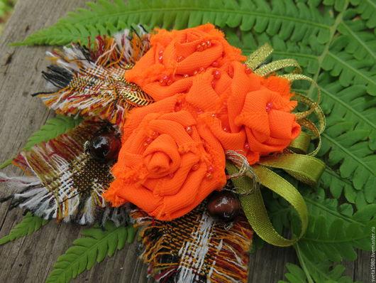 """Броши ручной работы. Ярмарка Мастеров - ручная работа. Купить Бохо-брошь """"Оранжевое настроение"""". Handmade. Рыжий, бохо"""