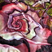 """Аксессуары ручной работы. Ярмарка Мастеров - ручная работа Батик платок """"Дыхание розы"""". Handmade."""