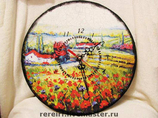 """Часы для дома ручной работы. Ярмарка Мастеров - ручная работа. Купить Часы """"Маковое поле"""". Handmade. Часы, импрессионизм, пейзаж"""