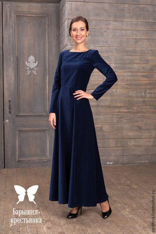 Платья ручной работы. Ярмарка Мастеров - ручная работа. Купить Вивьен. Handmade. Тёмно-синий, зимнее платье, православный стиль