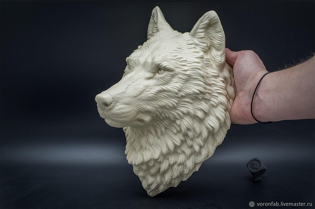 Голова волка. Вариант цвета: слоновая кость. Мастерская скульптуры VoronFab