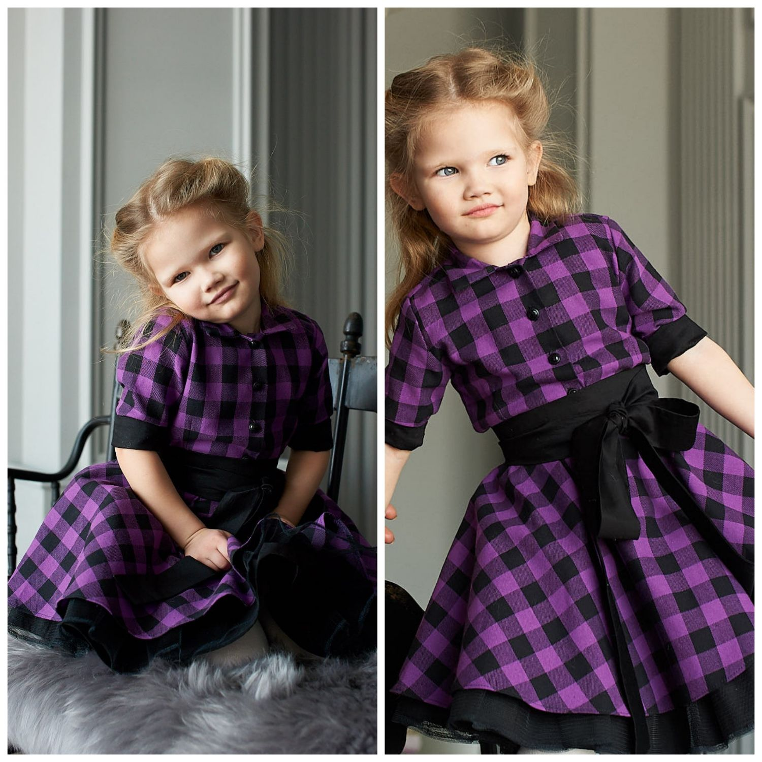 Dress for girls ' Lavender cage', Childrens Dress, Moscow,  Фото №1
