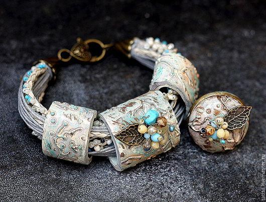 Комплекты украшений ручной работы. Ярмарка Мастеров - ручная работа. Купить браслет и кольцо из полимерной глины  первые заморозки. Handmade.