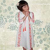 Работы для детей, ручной работы. Ярмарка Мастеров - ручная работа Белое платье женское КОРАЛЛ Платье лен Летнее платье Красивое платье. Handmade.