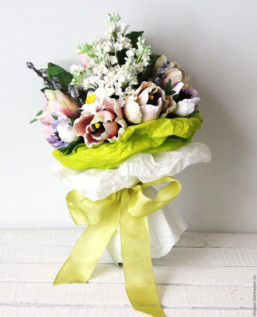 Весенний каприз, букет, цветы из полимерной глины, тюльпаны, сирень, анемоны, нарциссы, веточки вербы, букет для интерьера, букет в руку невесты