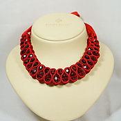 Украшения handmade. Livemaster - original item necklace red stones twisted tape. Handmade.