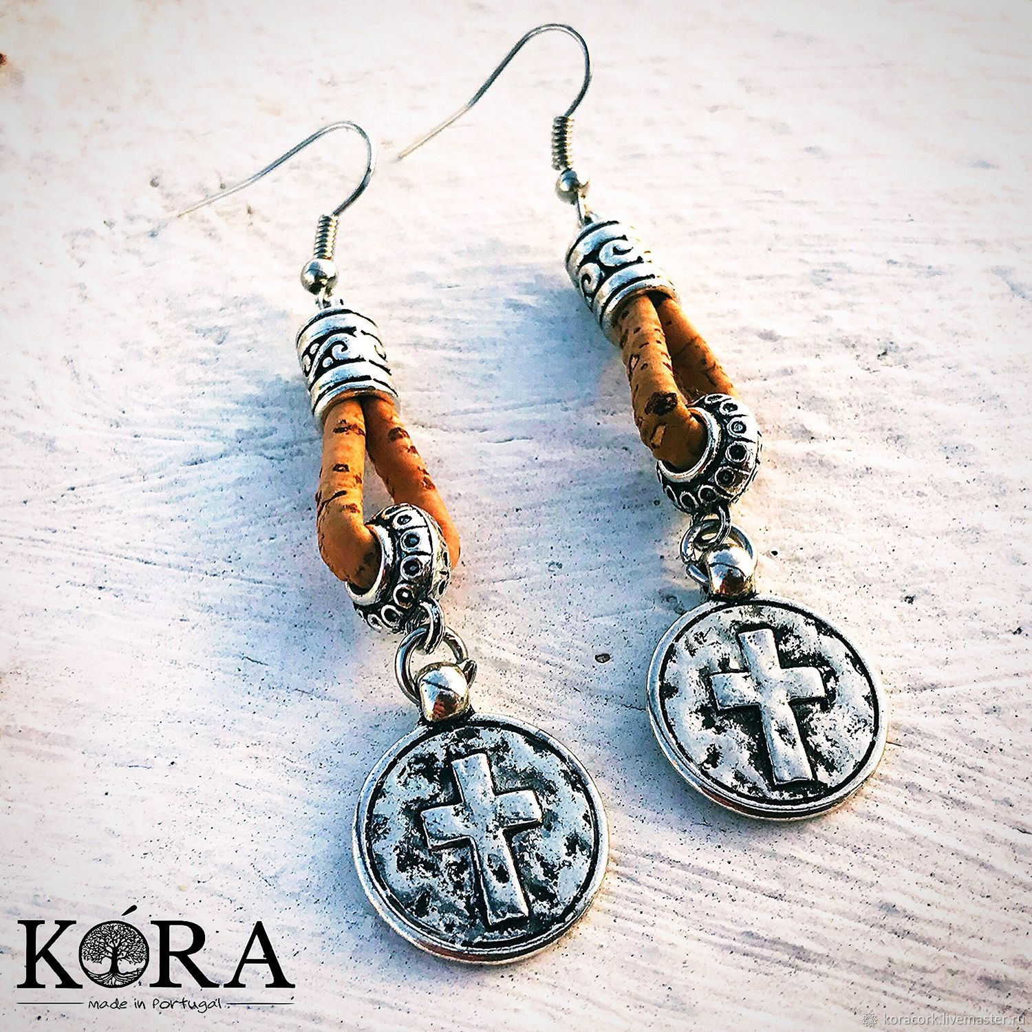 07c2fabb456 Cross earrings made of Portuguese cork handmade Br0084w – shop online on  Livemaster with shipping