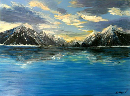 """Пейзаж ручной работы. Ярмарка Мастеров - ручная работа. Купить """"Горы"""". Handmade. Синий, горы, море, пейзаж, пейзаж с водой"""