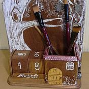 """Канцелярские товары ручной работы. Ярмарка Мастеров - ручная работа Вечный календарь с карандашницей """"Фотография на память!"""". Handmade."""