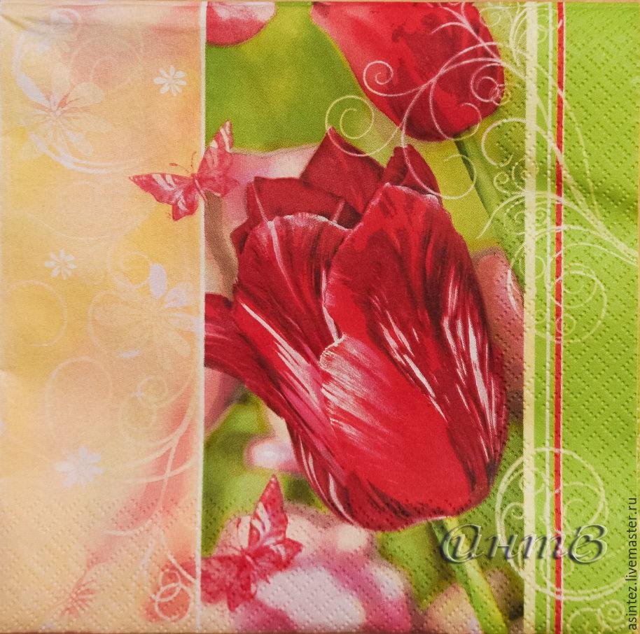 5pcs napkins decoupage flowers tulips holiday print, Swipe, Moscow, Фото №1