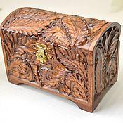 Для дома и интерьера handmade. Livemaster - original item Box: Small wooden box-chest for jewelry, brown. Handmade.