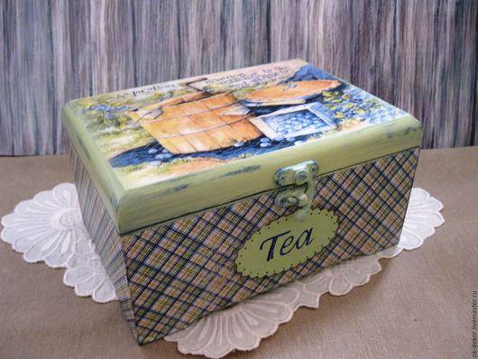 Кухня ручной работы. Ярмарка Мастеров - ручная работа. Купить Чайная шкатулка  Черники нежный аромат.... Handmade. Шкатулка для чая