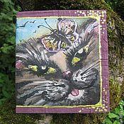 """Открытки ручной работы. Ярмарка Мастеров - ручная работа Авторская открытка """"Кот и бабочка"""". Handmade."""