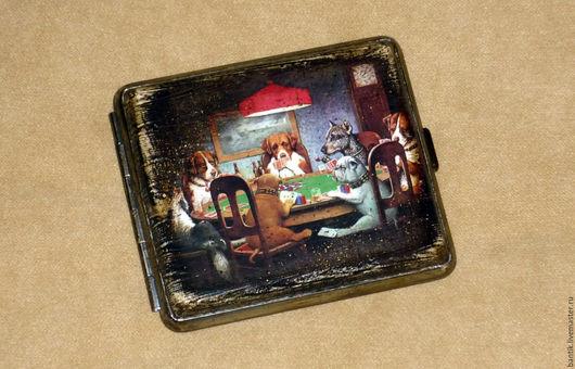 """Подарки для мужчин, ручной работы. Ярмарка Мастеров - ручная работа. Купить Портсигар """"Игроки"""". Handmade. Портсигар, подарки для мужчин"""