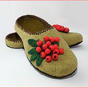 """Обувь ручной работы. Ярмарка Мастеров - ручная работа Тапочки """" Гроздья рябины"""". Handmade."""