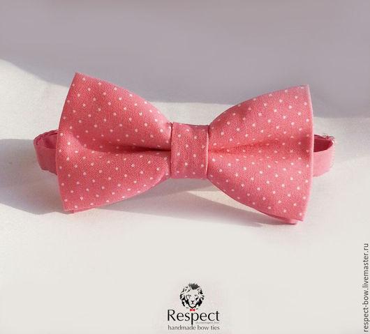 Галстуки, бабочки ручной работы. Ярмарка Мастеров - ручная работа. Купить Малиновая галстук бабочка в белый мелкий горошек. Handmade.