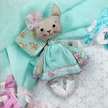 Dolls & toys handmade. Livemaster - original item Toys: Cat in mint dress. Handmade.