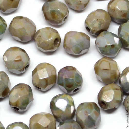 Для украшений ручной работы. Ярмарка Мастеров - ручная работа. Купить 30шт 6мм Чешские граненые бусины Зеленый люстр Fire polished beads. Handmade.