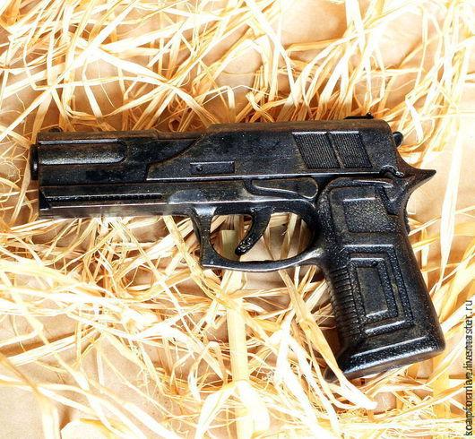 """Мыло ручной работы. Ярмарка Мастеров - ручная работа. Купить Мыло """"Пистолет 2d большой"""". Handmade. Черный, день мужчин"""