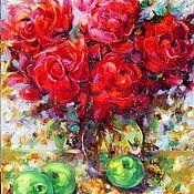 Картины ручной работы. Ярмарка Мастеров - ручная работа Картина   Красные Розы в вазе. Handmade.