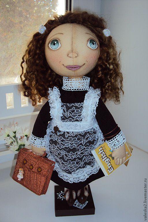 """Куклы тыквоголовки ручной работы. Ярмарка Мастеров - ручная работа. Купить Тыквоголовая кукла """"Школьница"""". Handmade. Кукла, английский, кружево"""