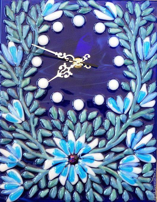"""Часы для дома ручной работы. Ярмарка Мастеров - ручная работа. Купить Часы из стекла """"Ночной цветок"""", фьюзинг. Handmade. Фиолетовый"""