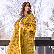 Одежда handmade. Livemaster - original item cardigans: Voluminous cardigan with a large pattern of yellow color oversize. Handmade.