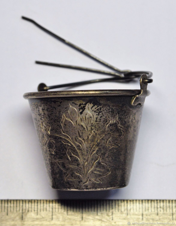 Tea strainer Bucket silver 875 sample, Vintage interior, Kineshma,  Фото №1