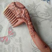 """Сувениры и подарки handmade. Livemaster - original item Hand Carved Juniper Wood Hair Comb """"Sunflowers"""". Handmade."""