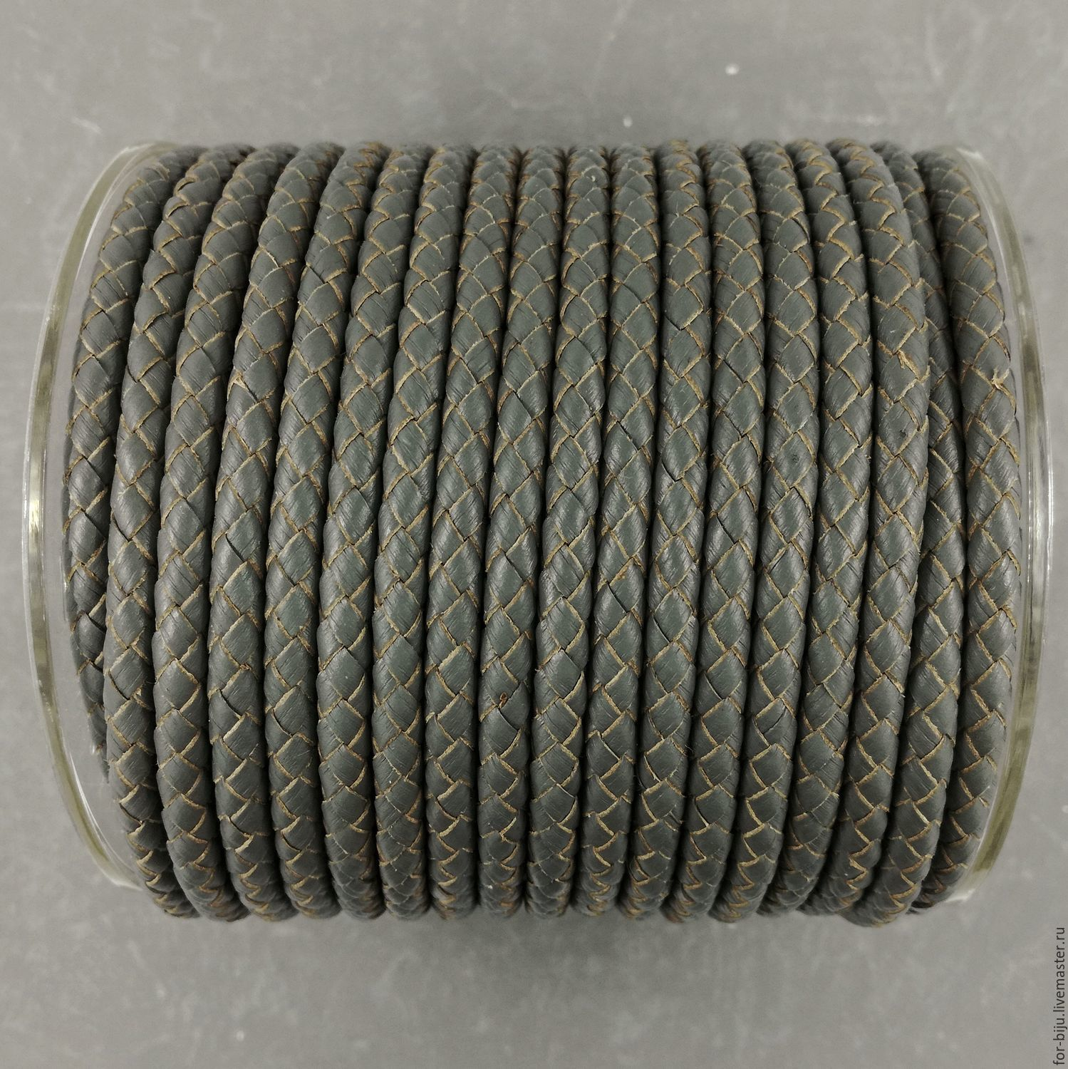 Cord leather braided, color GRAY, thickness 5 mm, leather, natural (art. 2808)