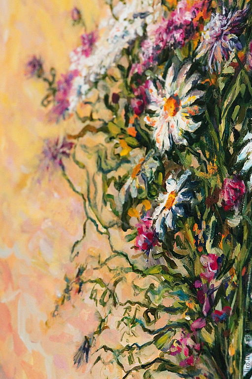 Картины цветов ручной работы. Ярмарка Мастеров - ручная работа. Купить Картина Полевые цветы. Handmade. Бежевый, розовый