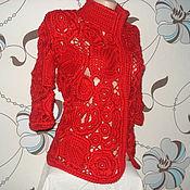 """Одежда ручной работы. Ярмарка Мастеров - ручная работа Жакет красный  """"Морозные узоры """". Handmade."""