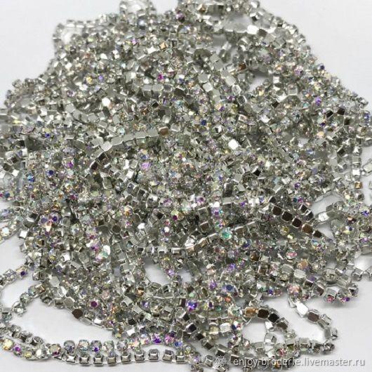 Стразовая лента прозрачная АВ в серебре, 1.4 мм, 10 см, Кристаллы, Санкт-Петербург,  Фото №1