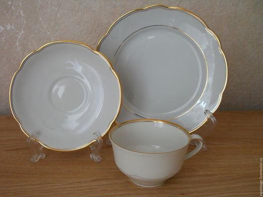 Винтажная посуда. Ярмарка Мастеров - ручная работа. Купить ZEH SCHERZER BAVARIA  Винтажное фарфоровое чайное трио. Handmade. Белый