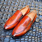 Обувь ручной работы handmade. Livemaster - original item Loafers made of genuine leather, with drawing, handmade!. Handmade.