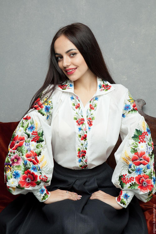 454534d76d1 Ярмарка Мастеров - ручная работа. Купить Белая блуза с вышивкой. Блузки  ручной работы. Белая блуза с вышивкой. Ручная вышивка от Ольги Стрельцовой.  Интернет ...