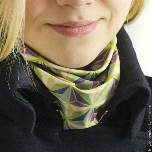 """Шали, палантины ручной работы. Ярмарка Мастеров - ручная работа. Купить Шейный платок/шарфик из авторского текстиля """"Благородство геометрии"""". Handmade."""