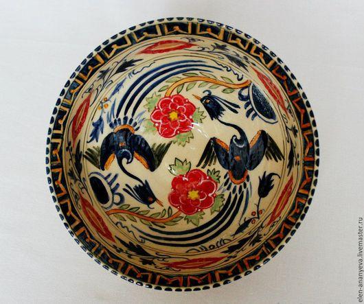Тарелки ручной работы. Ярмарка Мастеров - ручная работа. Купить Керамическая историческая тарелка с павлинами 13 века. Handmade. Керамика