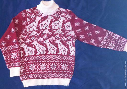 Кофты и свитера ручной работы. Ярмарка Мастеров - ручная работа. Купить свитер детский. Handmade. Бордовый, детский рождественский, рисунок