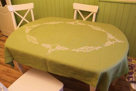 """Текстиль, ковры ручной работы. Ярмарка Мастеров - ручная работа. Купить Скатерть """"Зеленая"""". Handmade. Комбинированный, вышивка на заказ, лён"""