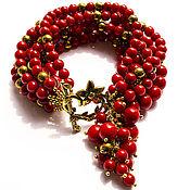 Украшения ручной работы. Ярмарка Мастеров - ручная работа Коралловый браслет многорядный с подвеской RED. Handmade.